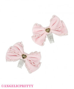 [Reservation] Lace Heart Charm Bell Ribbon Combs Set