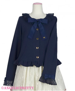 [Reservation] Lace Heart Charm Ribbon Cut Cardigan