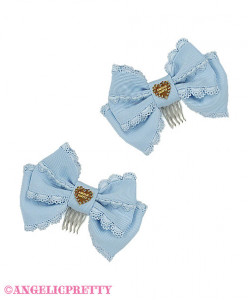 [Reservation] Lace Heart Charm Ribbon Comb Set