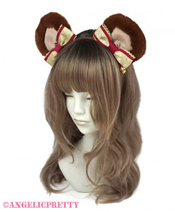 [Reservation] Bear Glitter Ribbon Headbow