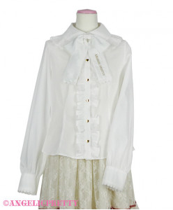 [Reservation] Logo Embroidery Ribbon Tie Blouse