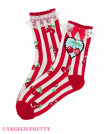 Cherry Stamp Crew Length Socks